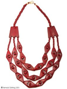 Hippy Necklace~Bone Necklace Three String Necklace with Diamond Shape Design~Fair Trade